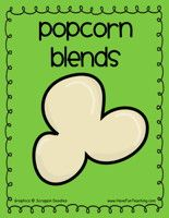 Popcorn Blends Activity: Cut out popcorn blends and word wheels. Pull a popcorn blend – set aside. Spin the spinner on the wheel. Match the blend to the word ending. When you make a real word record it on the recording sheet. Information: Phonics, Blends, Letter Sounds, Popcorn, Word Endings, Word Families