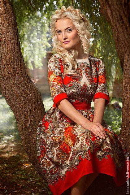 """Платье """"Танец Огня """" - рыжий,цветочный,лето,пляжный сезон,русский орнамент"""