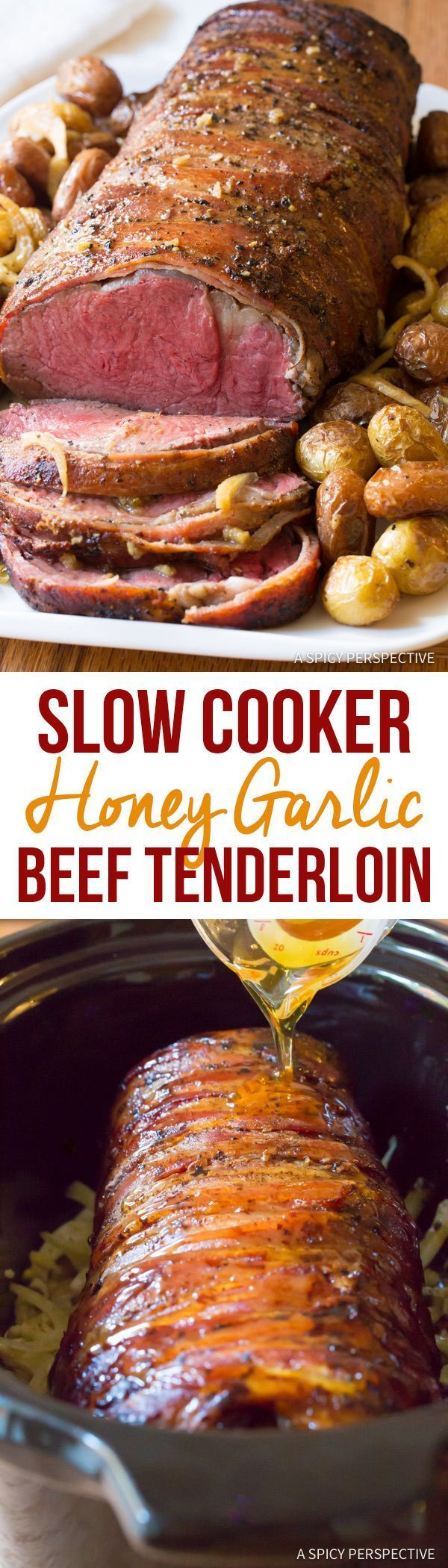 Fabulous Slow Cooker Honey Garlic Beef Tenderloin Recipe | http://ASpicyPerspective.com #holiday #christmas #crockpot