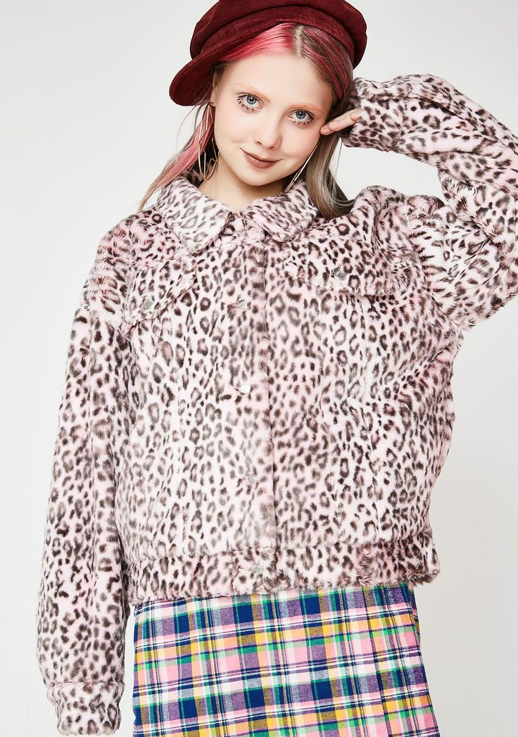 Lazy Oaf Pink Leopard Fur Jacket cuz you're fierce af. This oversized faux fur jacket has a leopard print, pockets on the sides, and a front button up closure. #dollskill #lazyoaf #newarrivals
