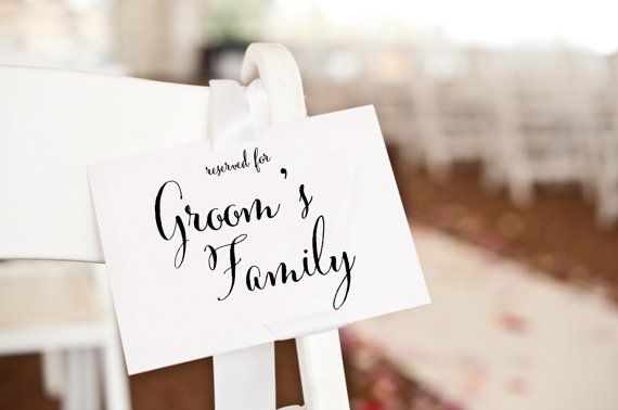 Reserved for Groom's Family Sign, reserved card, wedding ceremony decor, reserved seating wedding signage