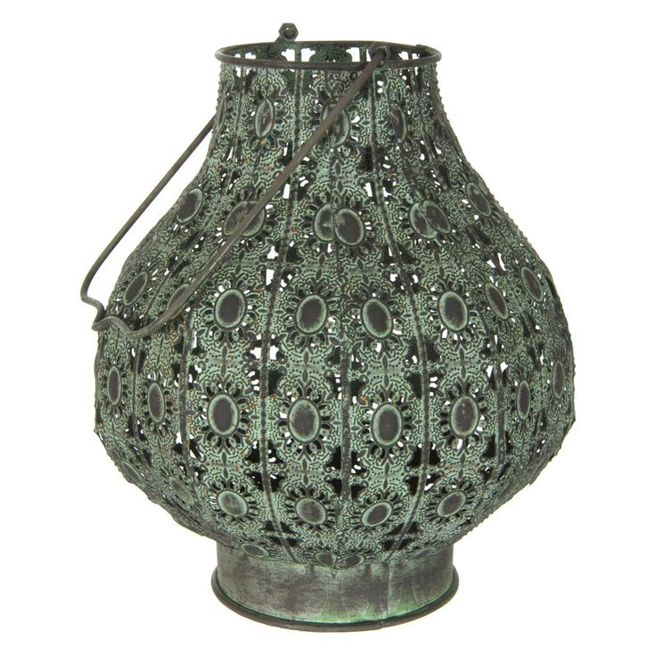 Oriental Furniture Fluted Wrought Iron Lantern   from hayneedle.com