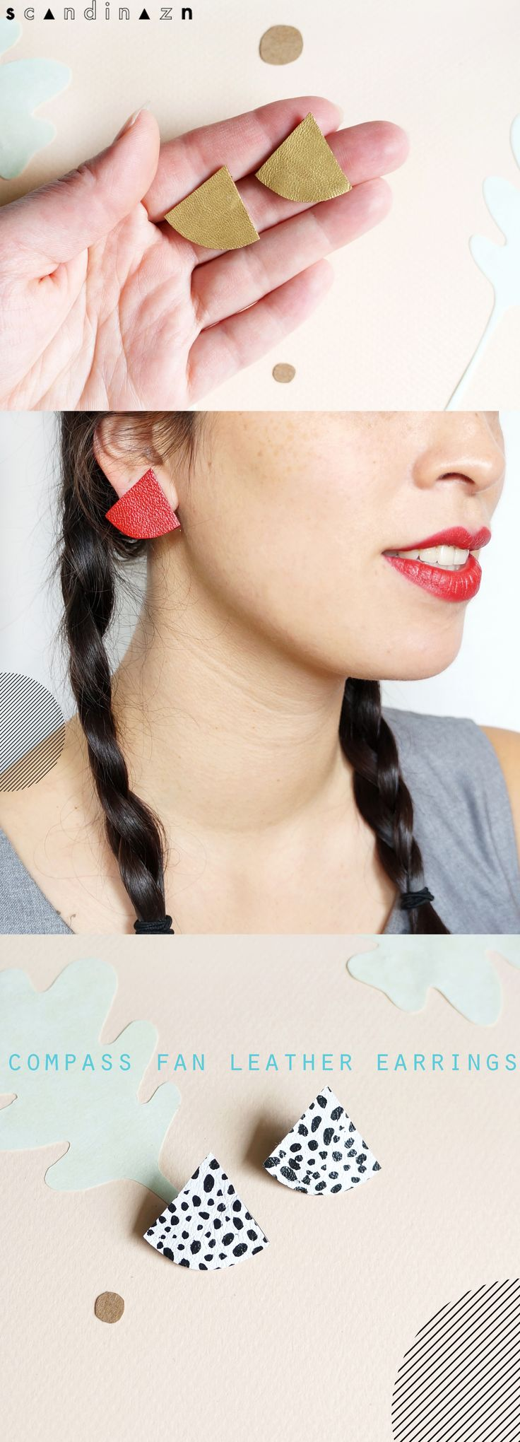 Statement fan leather earrings! Made from second hand leather garments.     + + +   Scandinazn