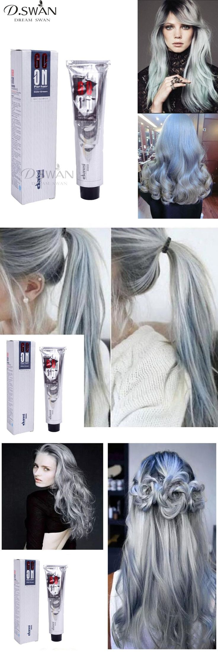 [Visit to Buy] Sliver Gray Hair Color Dye Cream Grey Hair Colour Permanent Hair Dyeing Non-Toxic Hair Style Cream 100ML #Advertisement