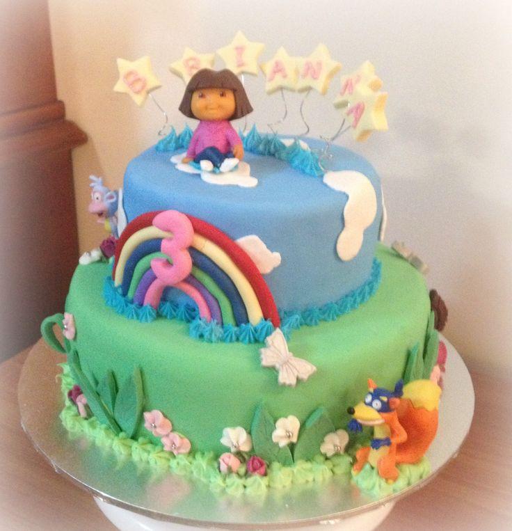 Dora the explorer cake Chocolate with chocolate ganache