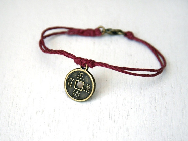 Lucky Chinese Coin Bracelet (28 colors). $8.00, via Etsy.