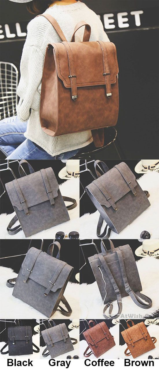 Retro Brown Metal Lock Match Large Scrub High School Bag Matte Square PU Backpack for big sale! #backpack #Bag #school #college #retro #large #matte