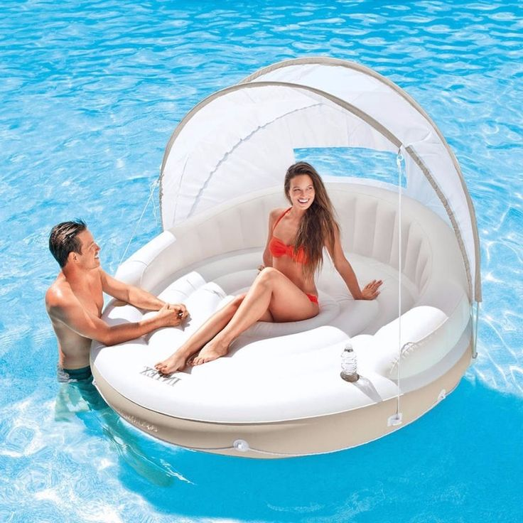 Ultimate Floating Lounger Pool Float Canopy Water Beach Lake Inflating #raft #pool #swimming #summer