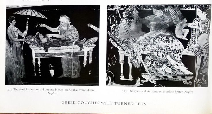 Greek couches with turned legs. THE FURNITURE OF THE GREEKS ETRUSCANS & ROMANS by G.M.A. RICHTER