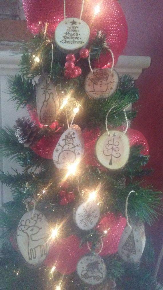 Legno bruciato gli ornamenti di Natale di QsCustomWoodBurning