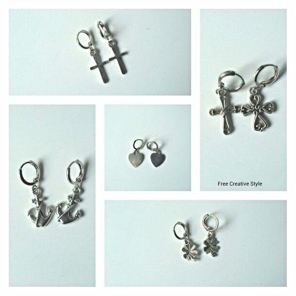 Piccoli piccoli, ma veramente di moda! Personalizzali come  vuoi.  Prezzo piccolo piccolo Visita il mio blog Link in Bio  #orecchino #earrings #gioiello #handmade #madeinitaly #orecchiniacerchio #croci #cuore #ancora #jewellerydesign by #freecreativestyle