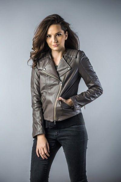 Leather jachet for women grey 2033 (1)