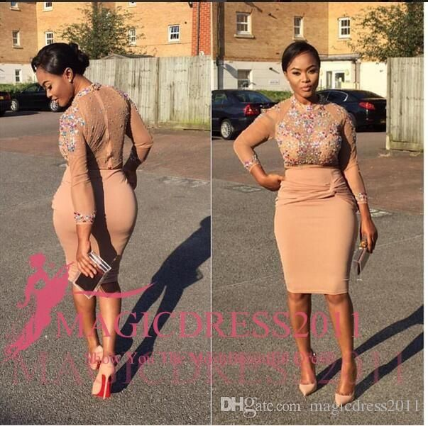 Little Nude Cocktail Dresses 2016 Sheath Jewel Illusion Bodice Ruffled Knee-Length Party Prom Dress Arabic Evening Formal Gowns Celebrity Short Prom Dresses Dresses for Women Short Cocktail Dresses Online with 125.0/Piece on Magicdress2011's Store | DHgate.com