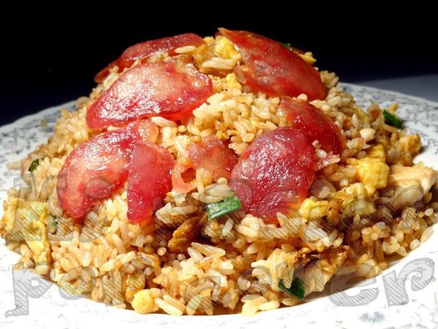 mi pasión por comer: Receta: Arroz chaufa de pollo y salchicha china