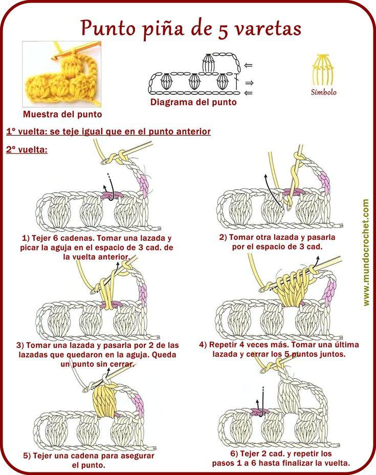Punto piña de varetas, garbanzo, madroño - Ponto pipoca - Bobble stitch - вязание крючком пунктов