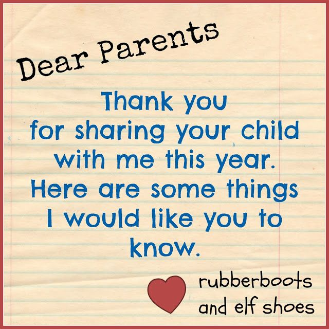 Dear Parents - what I would like parents to know as their child enters kindergarten.