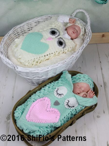 CROCHET PATTERN For Owl Baby Cocoon Papoose & Hat in 3 por ShiFio