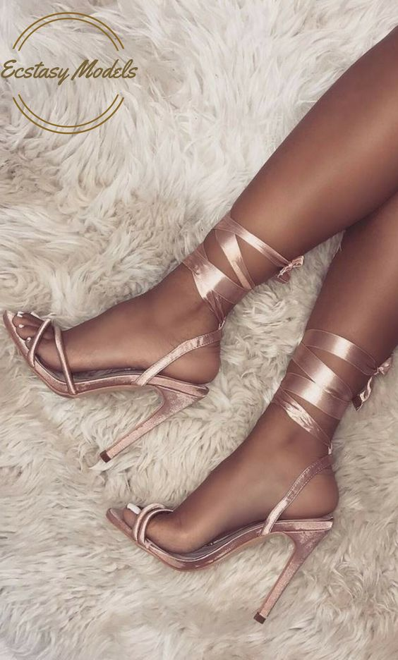Satin Lace Up Heels by  Simmi Shoes