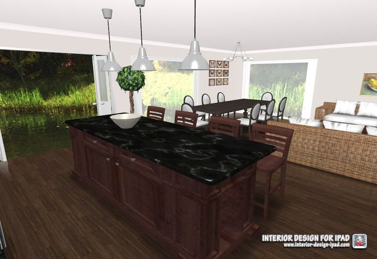 3d view of kitchen/ dining/ casual living 6x9m