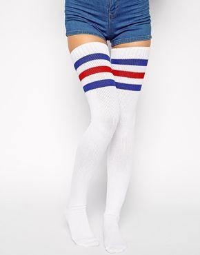 American Apparel Thigh High Striped Sock