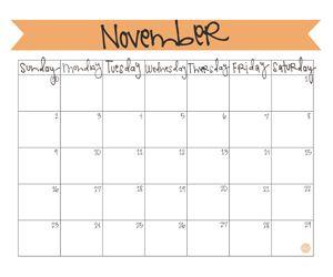 Free 2014 November Calendar