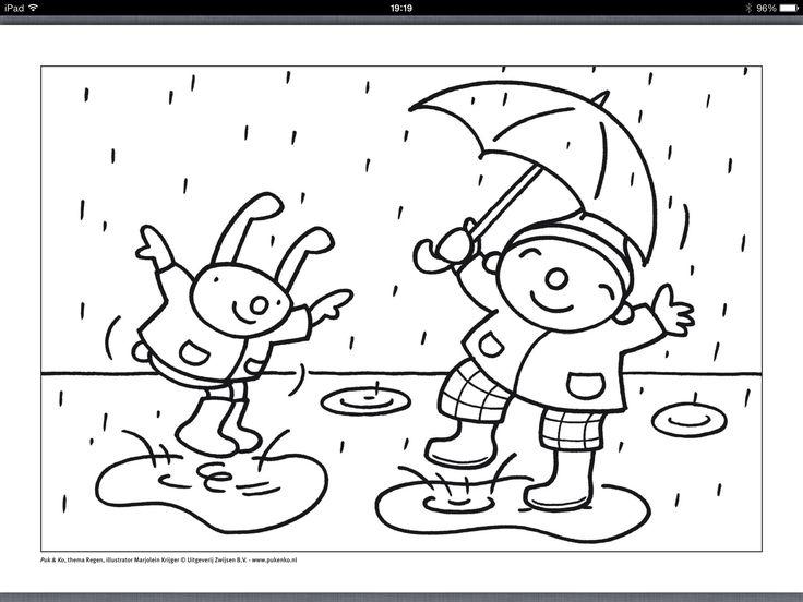 regen uk en puk kleurplaat puk regen knutselen