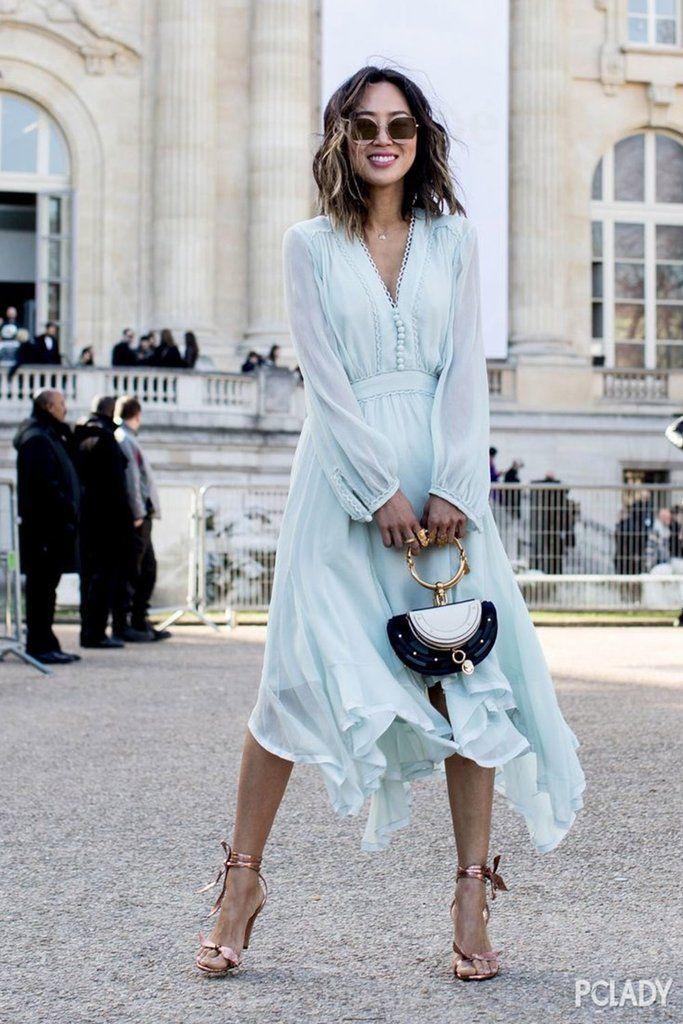 B| Chicloth Light Blue Chiffon Long Dress Elegant Female Party Plus Size Dress