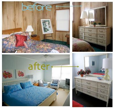 "B. B.: painted wood paneling, before/after   my inspiration, to a ""T""..."
