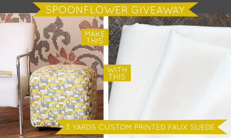 """nashbabe says """"wow, this is really nice fabric, and nope, I don't work there but I oughta. ;-) I've seen it used for ottomans...really nice.""""  Check out this week's Spoonflower giveaway-- a chance to win three yards of custom-printed Faux Suede!"""