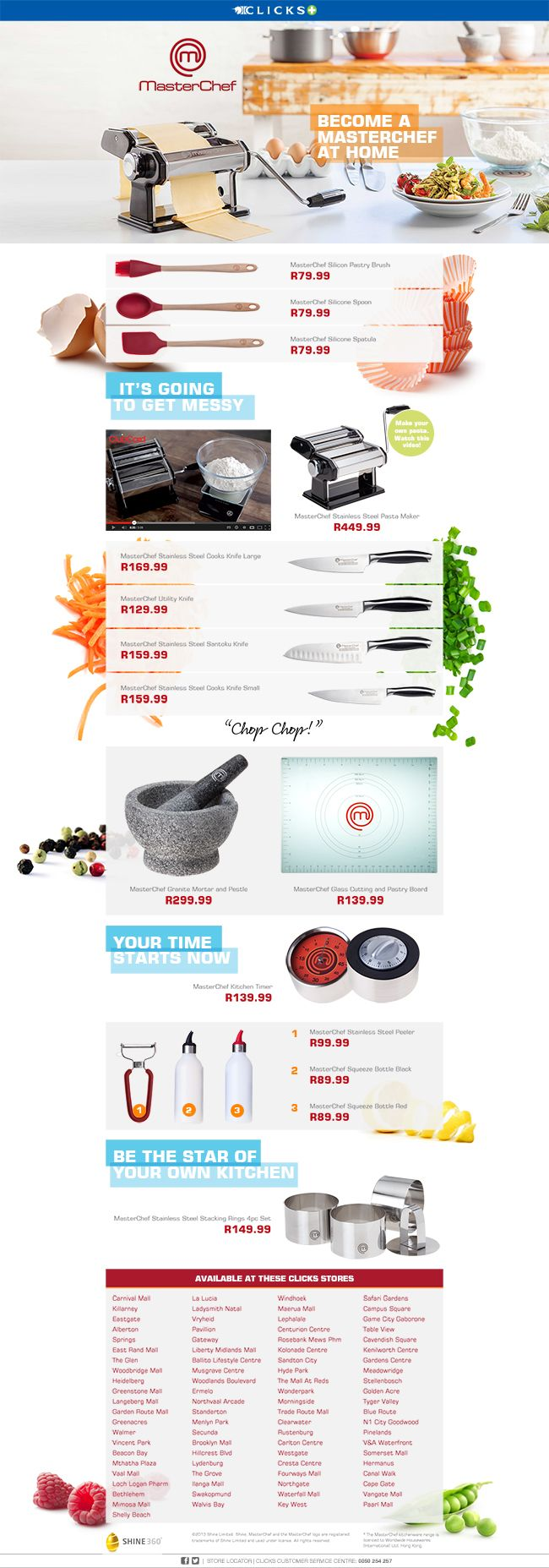 One page website design: MasterChef SA products