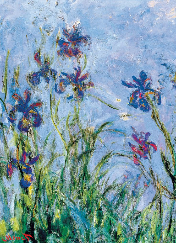 Irises by Claude Monet 1000-Piece Puzzle. Claude Monet (1840 1926), was a founder of French impressionist painting, and the most consistent and prolific practitioner of the movement's philosophy of expressing one's perceptions before nature. Monet's Irises are lesser known than his waterlilies - but just as beautiful.