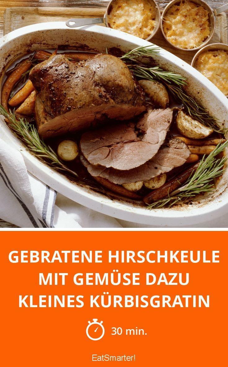 Gebratene Hirschkeule mit Gemüse dazu kleines Kürbisgratin - smarter - Zeit: 30 Min.   eatsmarter.de