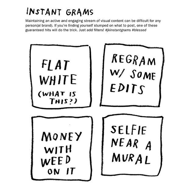"""a sample page from #unsolicitedadvice2016 — the annual """"instant grams"""" page! this year's edition contains these guaranteed hits. 4 days left to be a part of the preorder  adamjk.com/2016"""