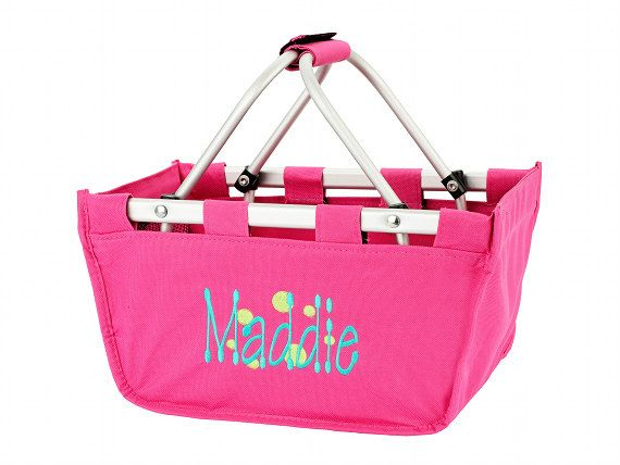 Personalized Hot Pink MINI Market Tote,Pool Bag,Camp Bag,Sports Bag,Teachers Bag, Traveling, Toy Bag and bridal party gift, bridesmaids gift
