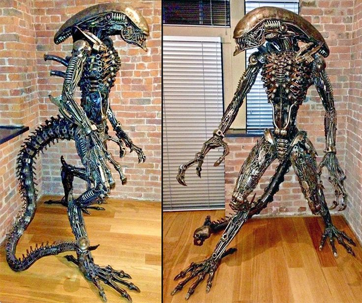 An eight foot tall jaw-dropping (with snapping inner mouth) sculpture of the infamous ALIEN creature that has been handmade from scrap metal and car and bike parts.