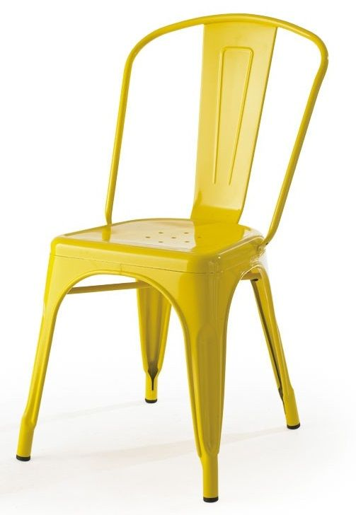 Wonderful Tolic Stackable Yellow Painted Metal Outdoor Chair, MM MC 001 YELLOW By