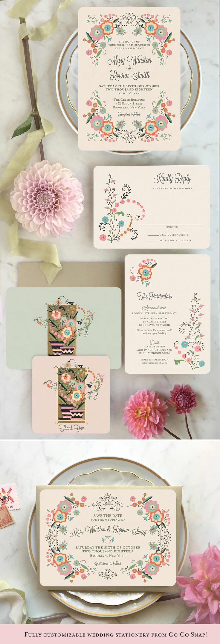 Floral Wedding Invitation Vintage Wedding Invitations Garden