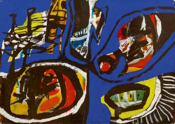 Joseph Antoon 'Anton' Rooskens (1906-1976)  Composition, gouache on paper. Collection Simonis & Buunk, The Netherlands.