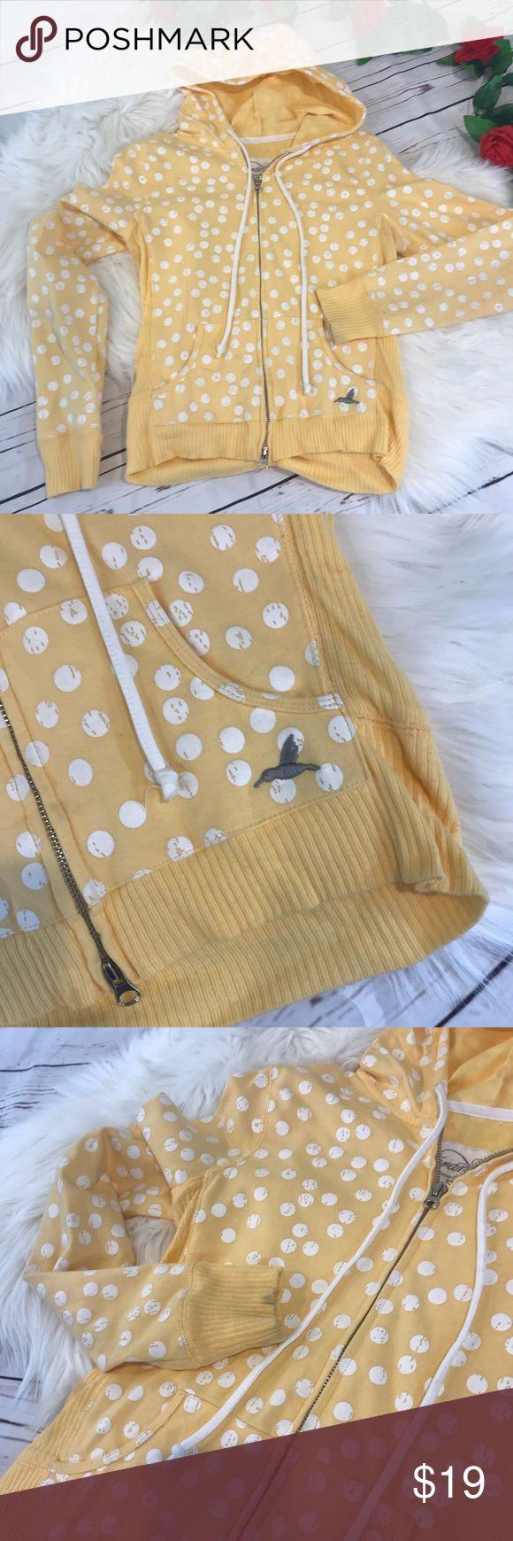 Grane medium yellow and white polka dot zip up Grane medium yellow and white polka dot zip up Adorable zip up hoodie Small mark on cuff of one sleeve  B306 Grane Tops Sweatshirts & Hoodies