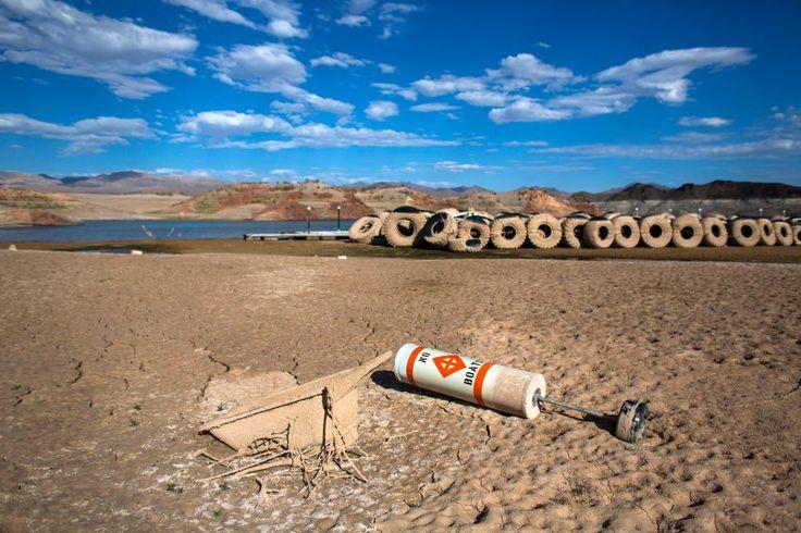 Dürre: Grundwasser-Problem im Westen der USA: Ausgetrockneter Bereich des Lake Mead: Das zurückgehende Wasser legt allerlei Müll frei