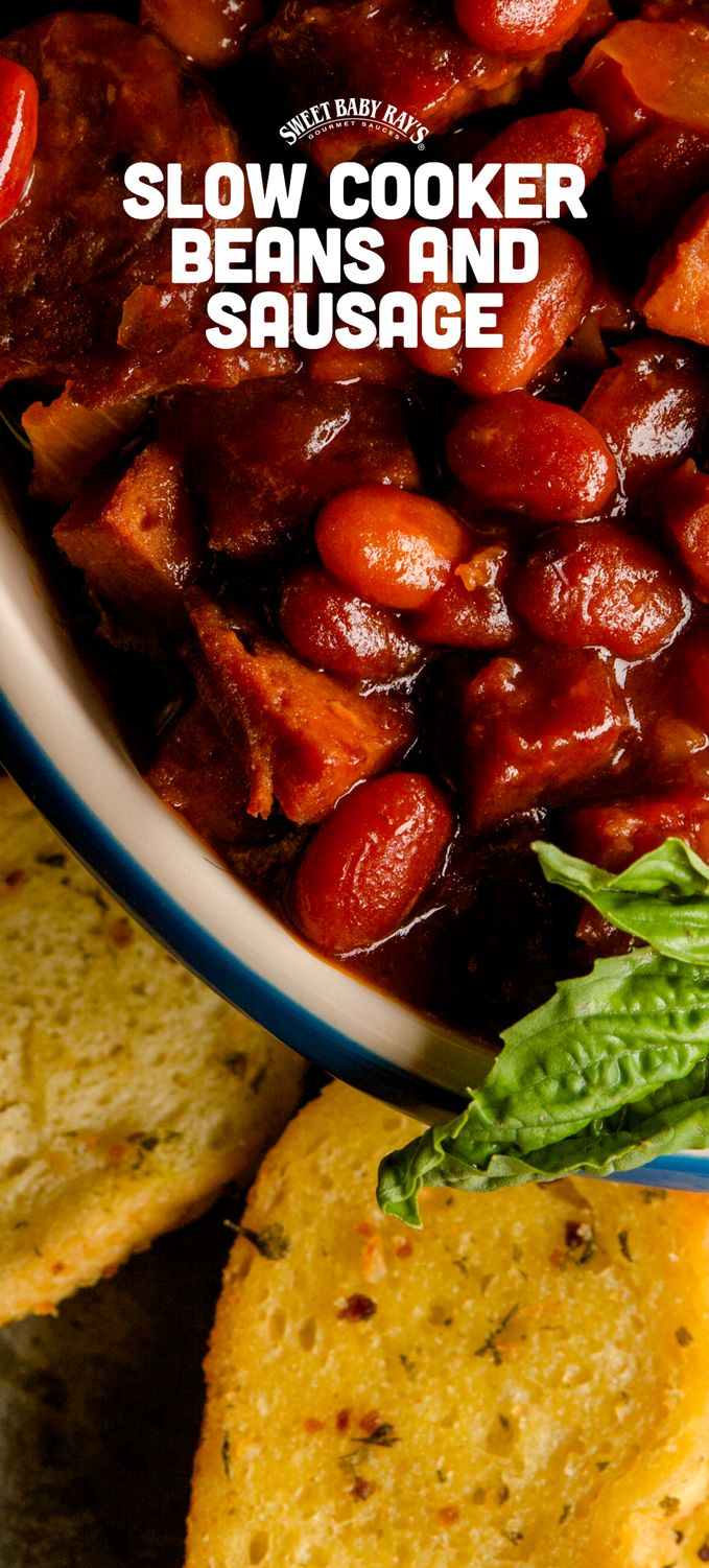 SBR Slow Cooker Beans & Sausage: Kielbasa, sausage, onion, garlic, two kinds of beans, and plenty of Sweet Baby Ray's is all it take to make this dish.