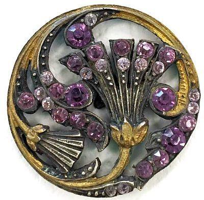 Brass and Purple Floral Rhinestone Button.