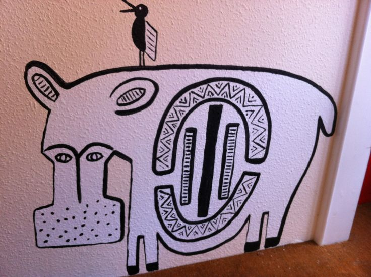 Our #CharityShop Security... The SOS Africa #Hippo was designed by Claudia Titley. #Africanart #AfricanAnimals