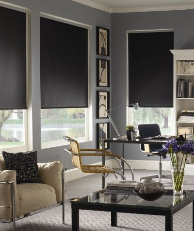 Good Use Of Black Roller Blinds In This Living Room Interior
