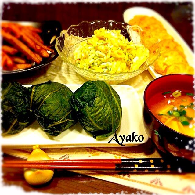 めはり高菜が手に入ったので、めはり寿司を作ってみました♡ 初めて食べたけど、美味しい - 152件のもぐもぐ - めはり寿司、豆腐とえのきのお味噌汁、ごぼうの天ぷら、マカロニサラダ、蓮根のはさみ揚げ by ayako1015
