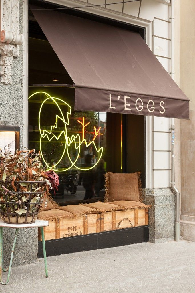 Outside of L'Eggs in Barcelona. [Photo by Matti Hillig]