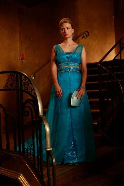 Betty Draper in turquoise organza gown. Simply breathless.