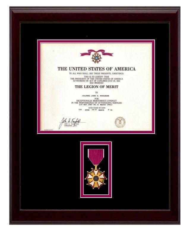 "13-1/2"" x 18"" Legion of Merit Frame Display $110.00   (http://www.militarymemoriesandmore.com/legion-of-merit-certificate-frame/)"