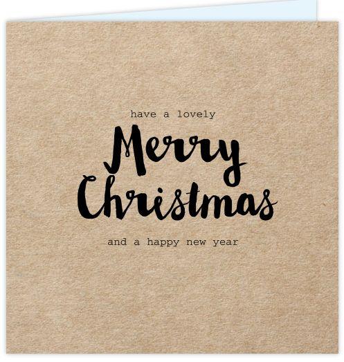 Originele zakelijke kerstkaart met kraftdesign. Met zwarte losse teksten in moderne lettertypes. Alles is te bewerken! Enveloppen zijn los bij te bestellen.