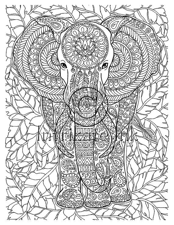 free zentangle elephant coloring pages - photo#16